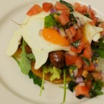 The Works Potato pancake , fried egg, Avocardo, Chipollatas and tomato & basil salsa