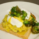 Poached egg w creamed Corn & Chilli Salsa